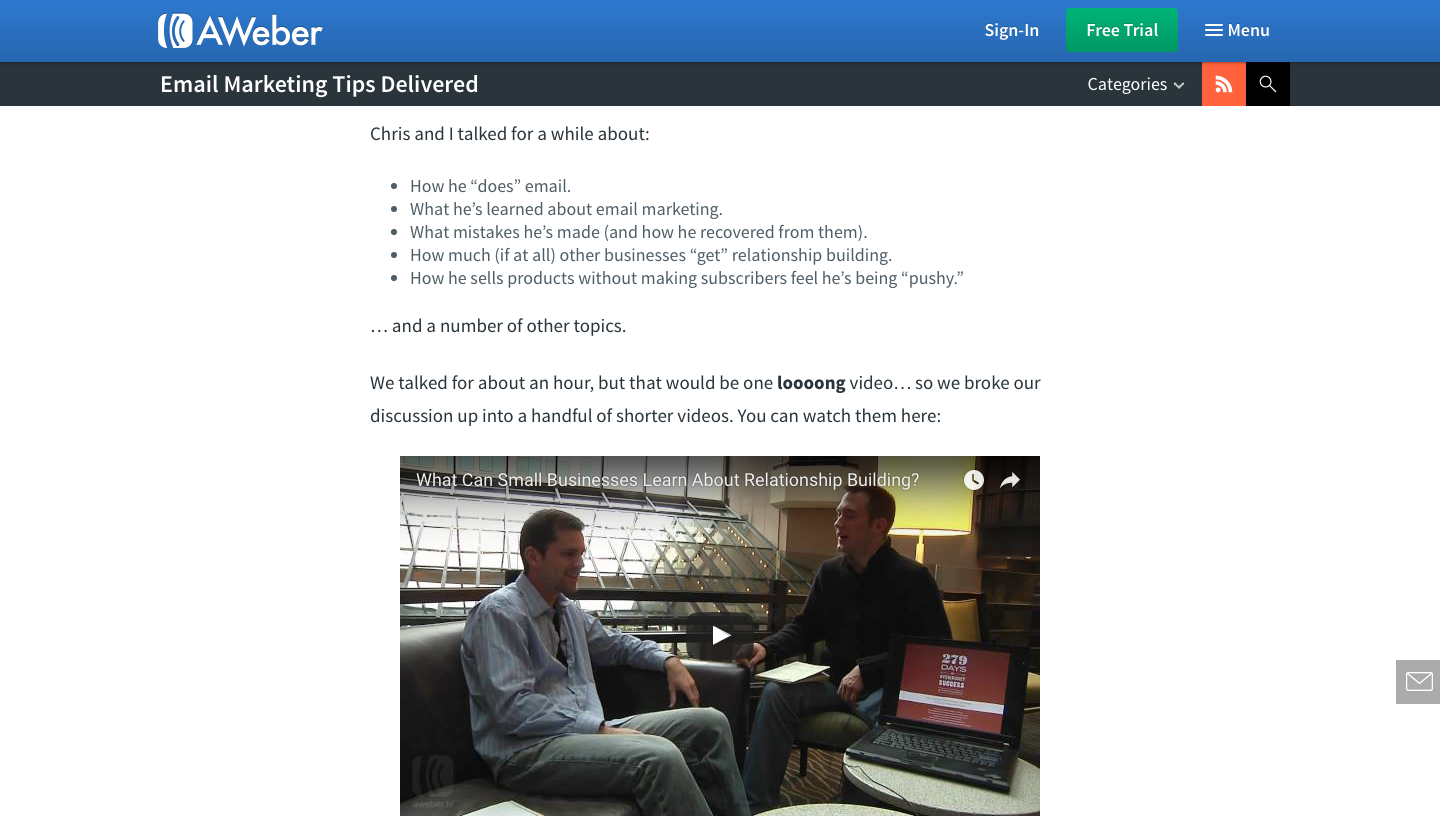 Screenshot of AWeber using interview testimonials to build trust