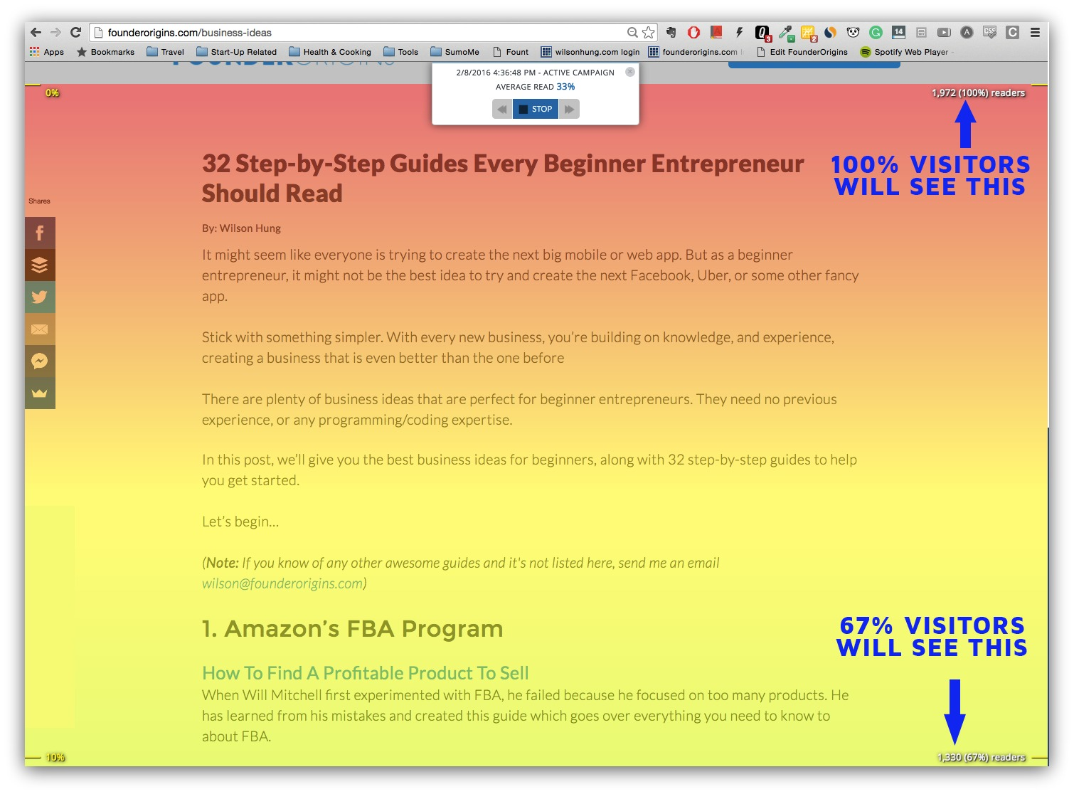 Screenshot showing the Sumo content analytics plugin