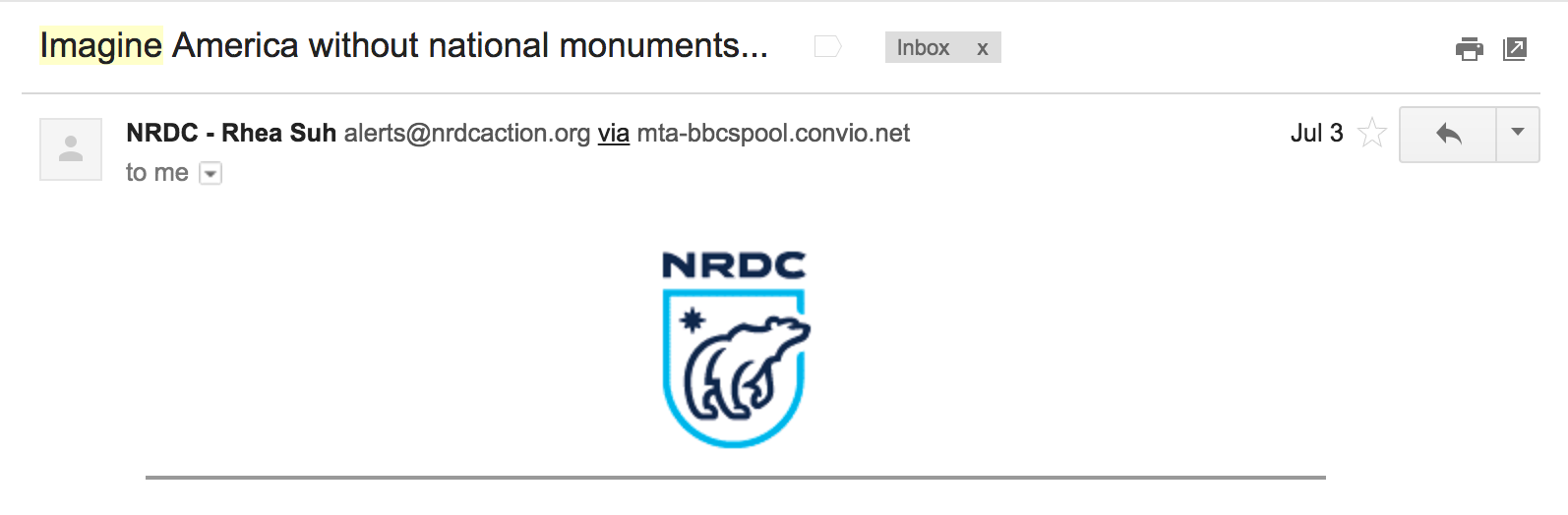 Best Email Subject Lines: Screenshot of email from Natural Resources Defense Council (NRDC)