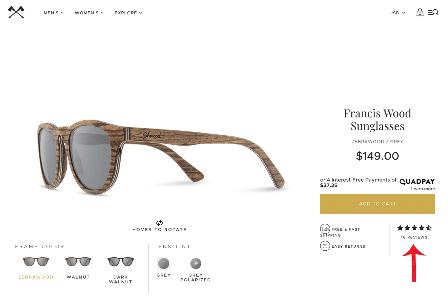 Screenshot showing a product page for sunglasses