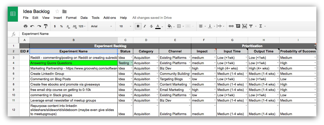 Screenshot of a spreadsheet about business ideas