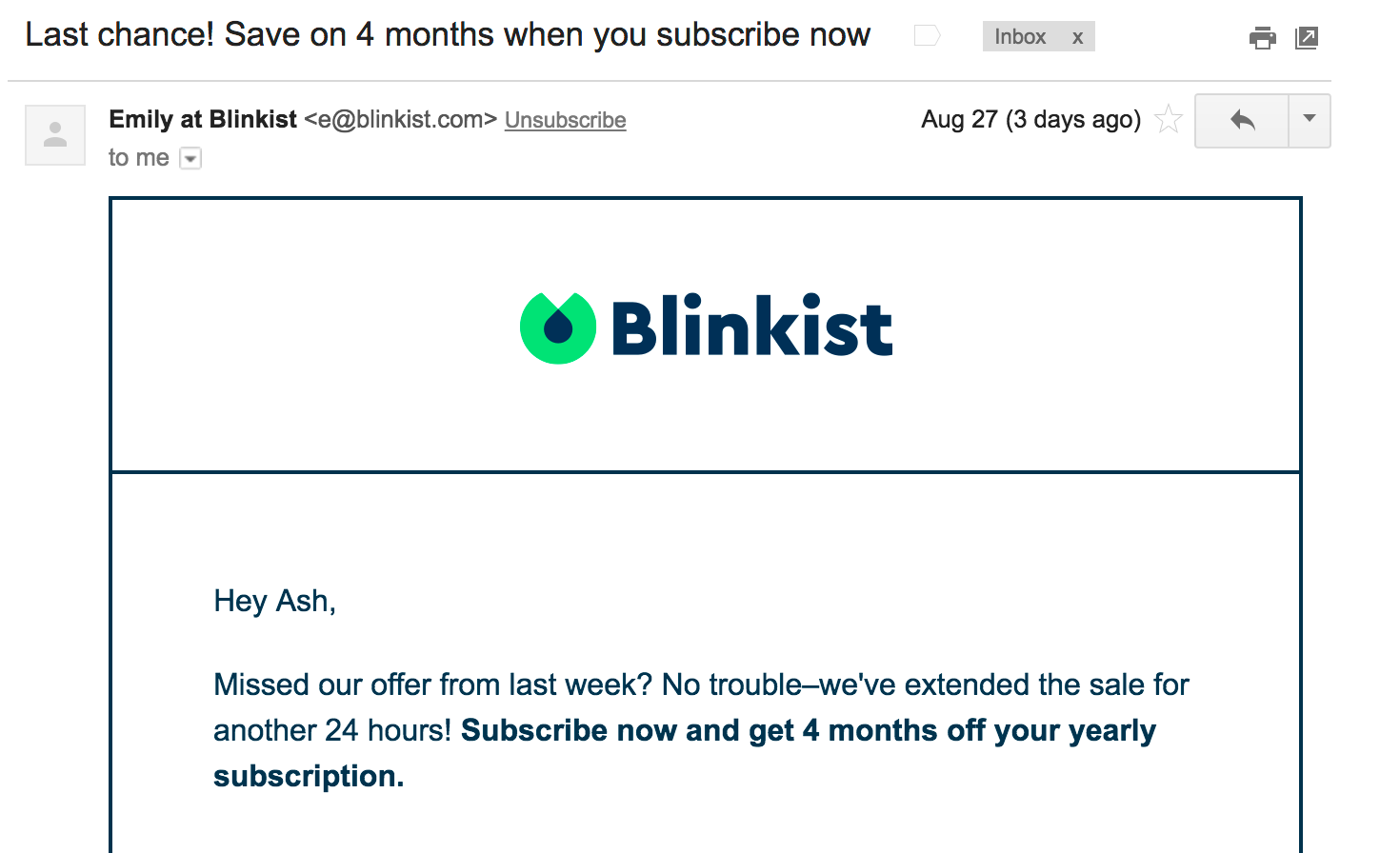 Best Email Subject Lines: Screenshot of email from Blinkist