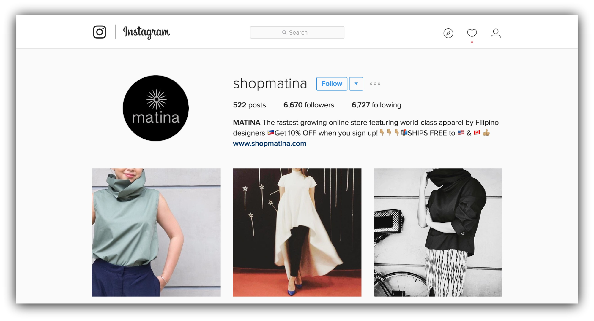 shopmatina instagram