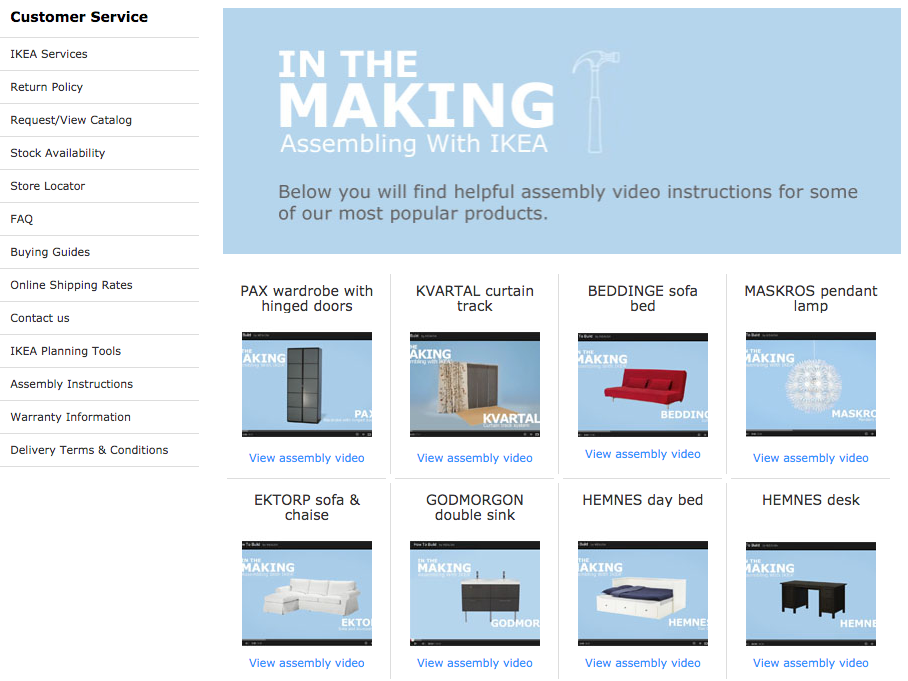 Screenshot showing a page on ikea.com