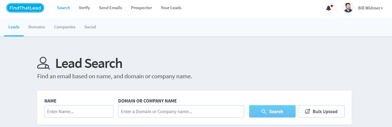 Screenshot of FindThatLead lead generation tool website