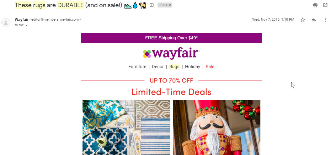 Screenshot showing an ecommerce sale email