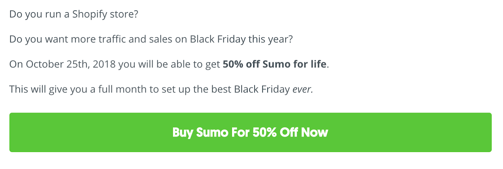 Screenshot of limited 24-hour sale for selling on Black Friday from Sumo