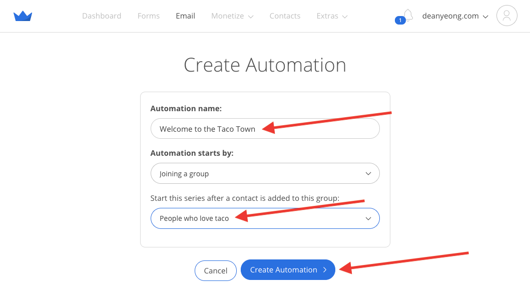 Screenshot of steps to create automation in Sumo