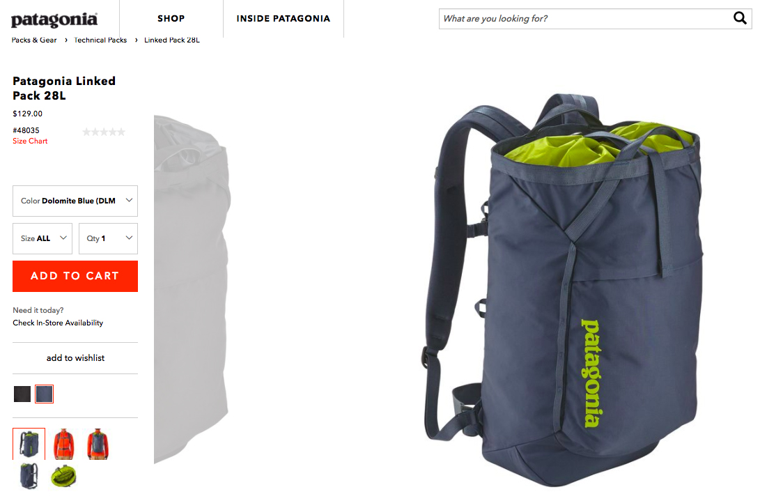Screenshot showing a product page for a backpack