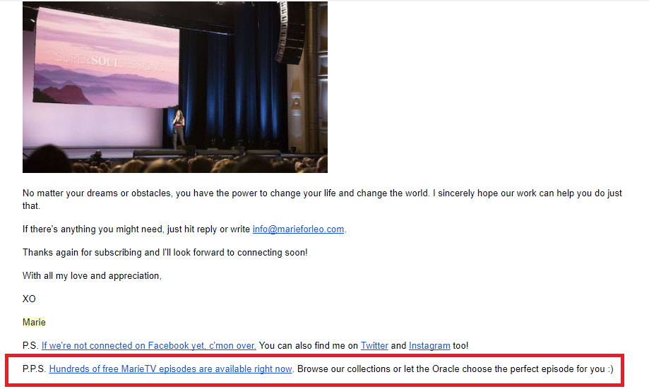 Screenshot showing an email and its P.P.S.