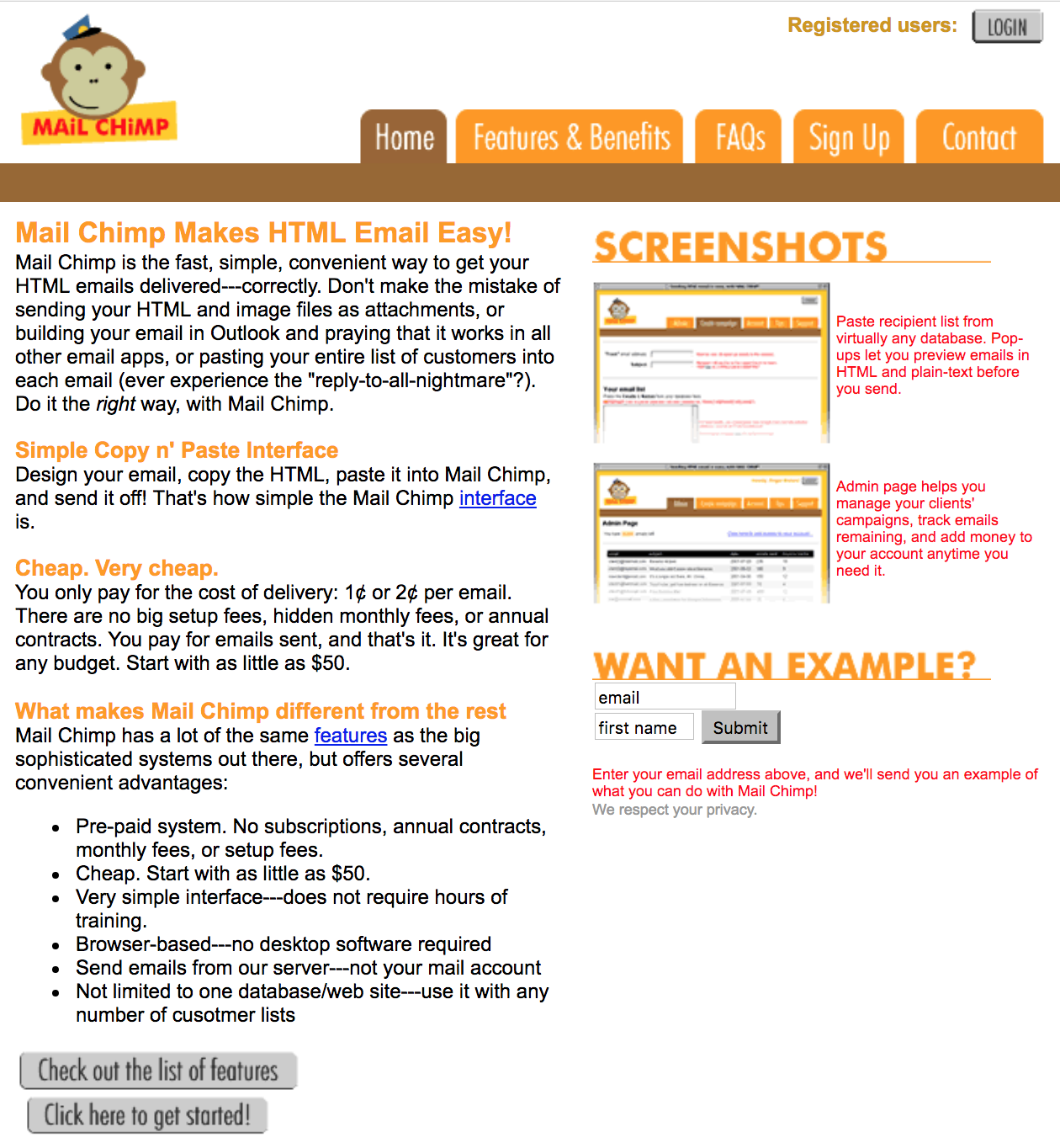 Screenshot showing how mailchimp used to be