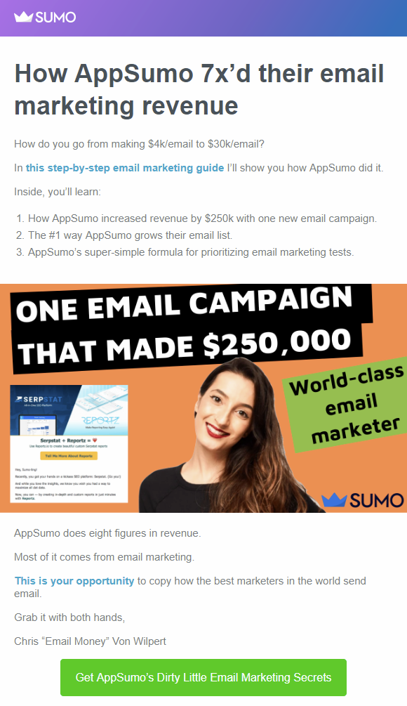 Screenshot of AppSumo content share email