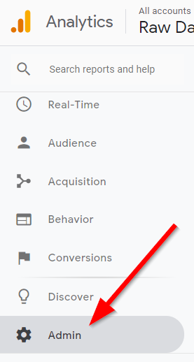 Screenshot showing Google Analytics sidebar