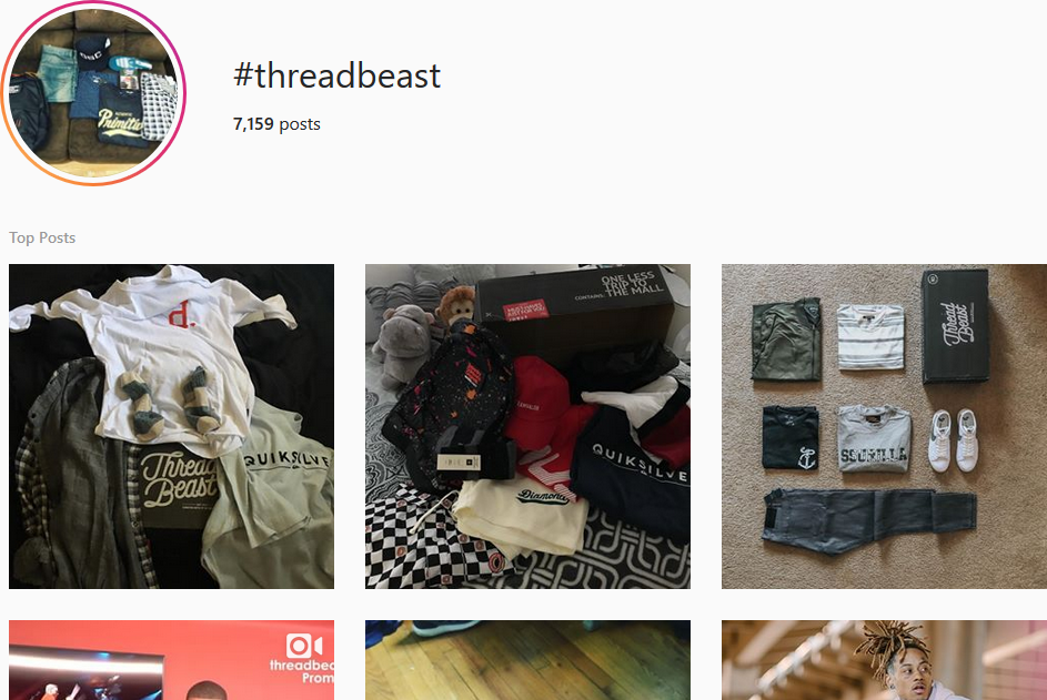 Screenshot showing an instagram search for a tag