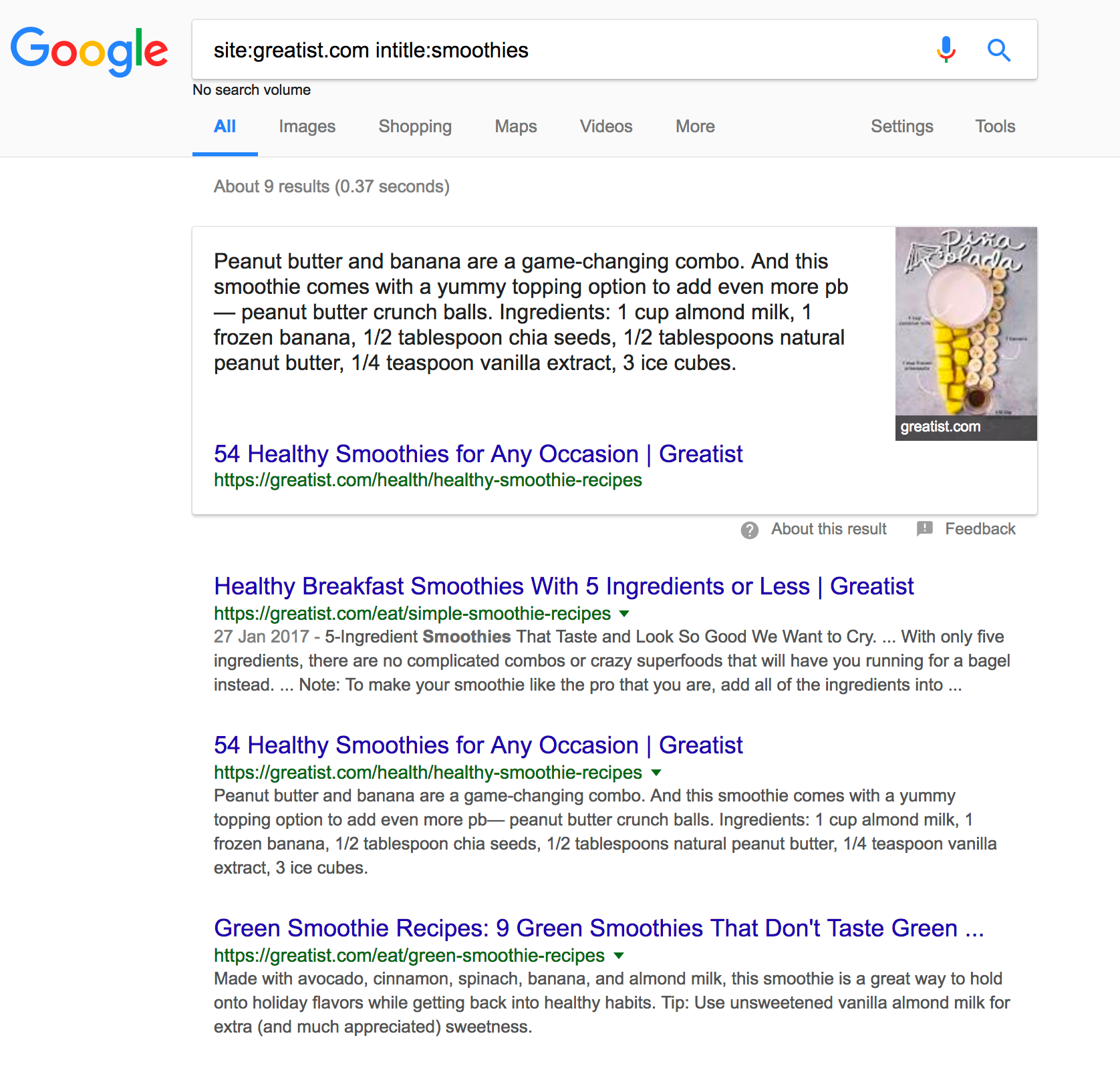 Screenshot of a google search for greatist.com and smoothies