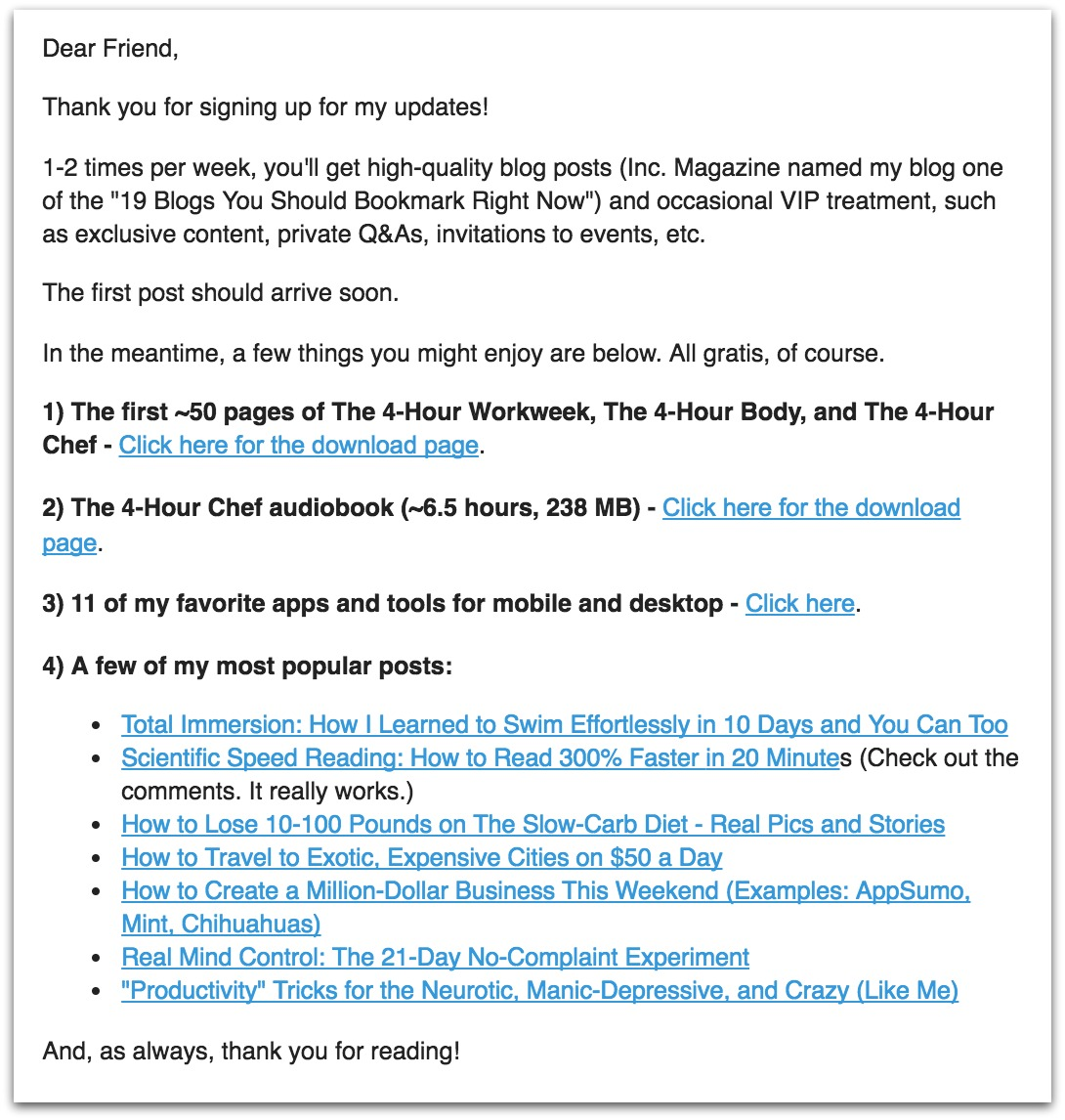 Screenshot of a welcome email sent by Tim Ferriss