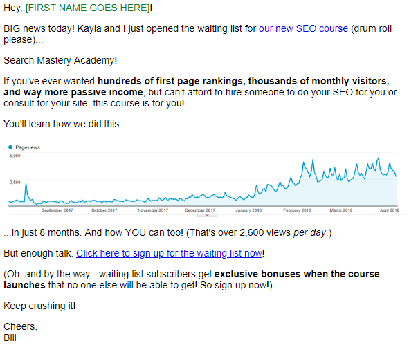 Screenshot of product waiting list email by Bill Widmer