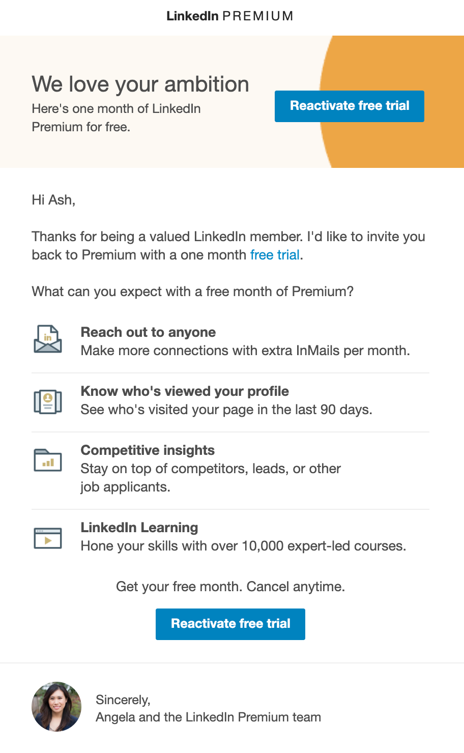 Screenshot of email from LinkedIn