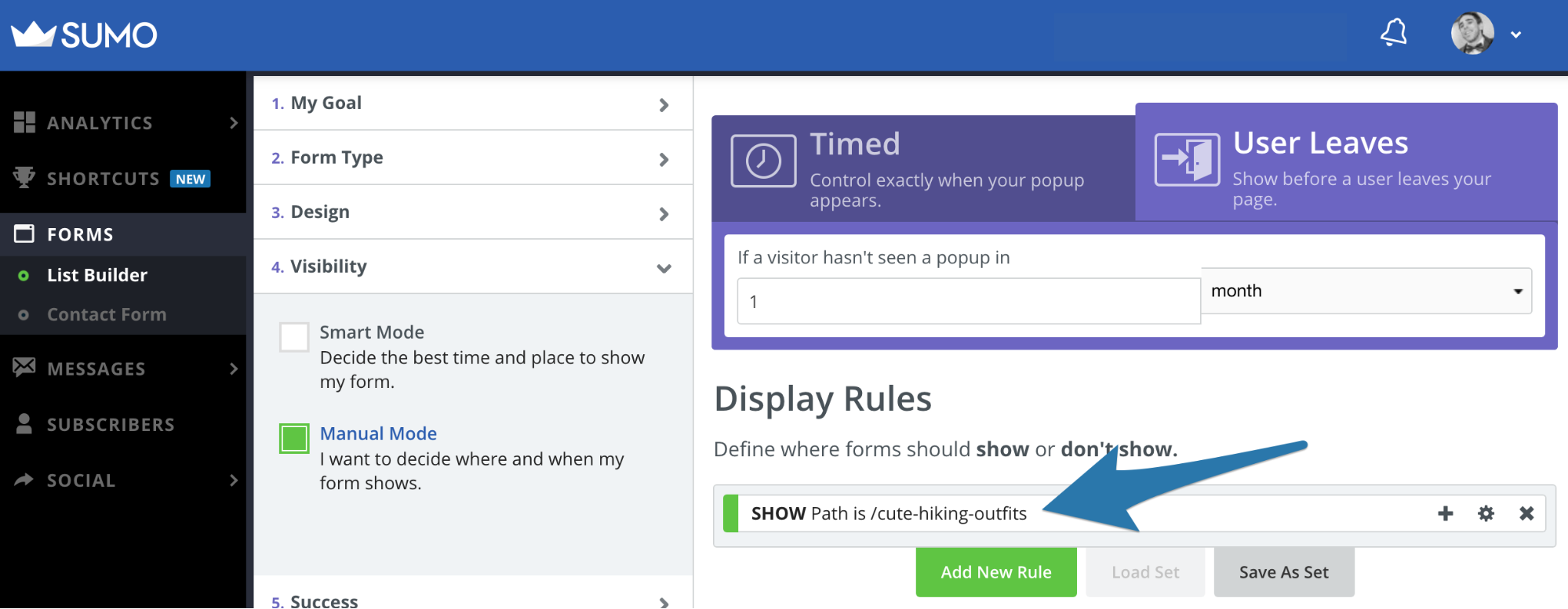 Screenshot showing popup settings page on the Sumo dashboard