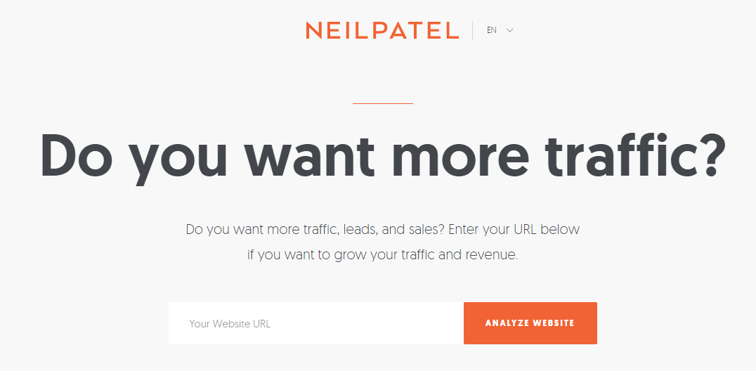 Squeeze Page: Screenshot of squeeze page on Neil Patel