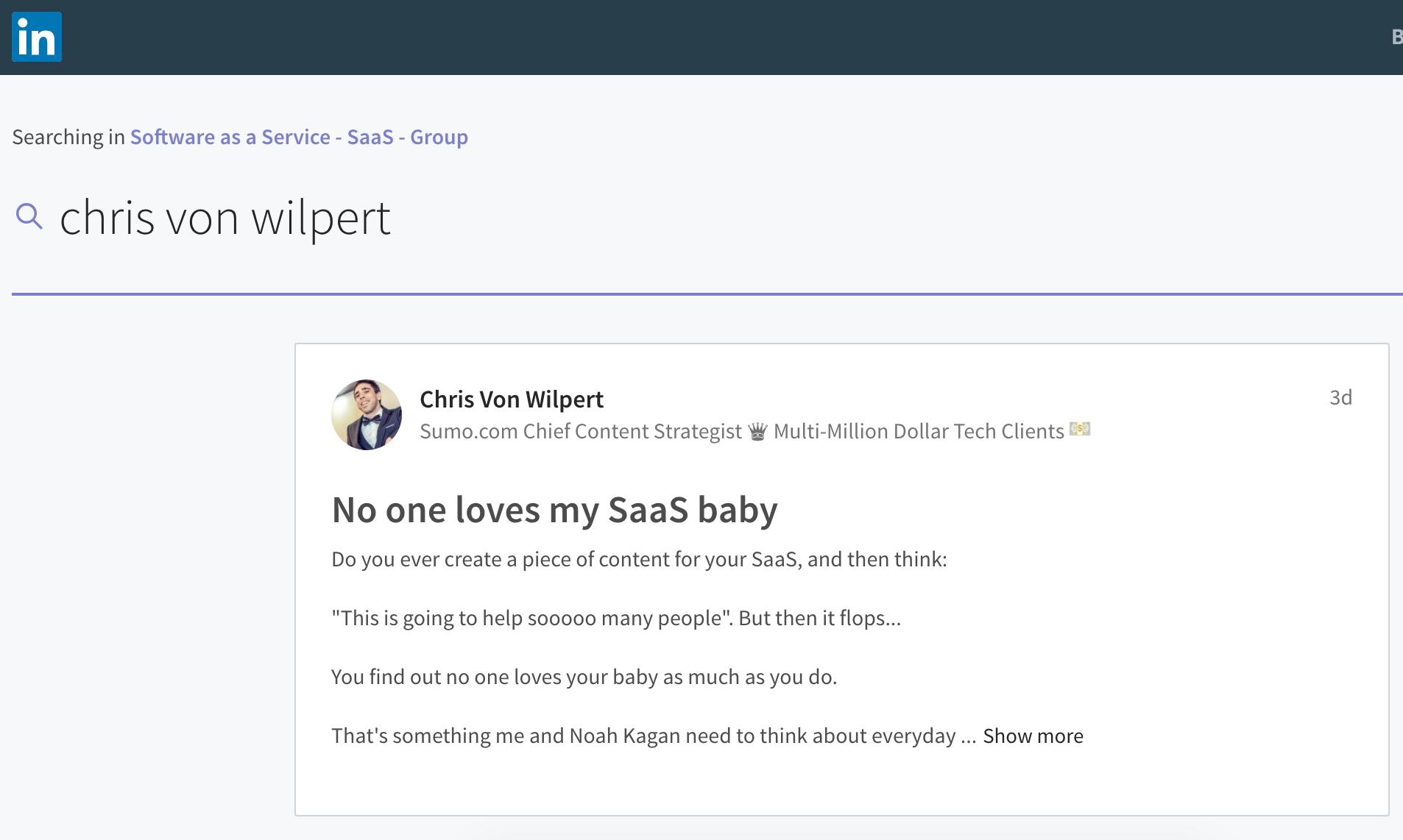Screenshot of a search for Chris Von Wilpert on LinkedIn