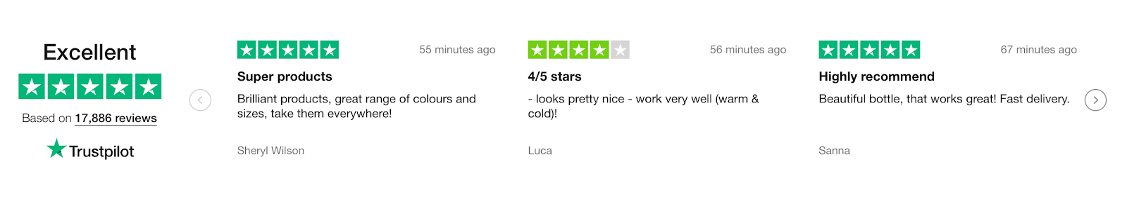 Screenshot showing Trustpilot ratings