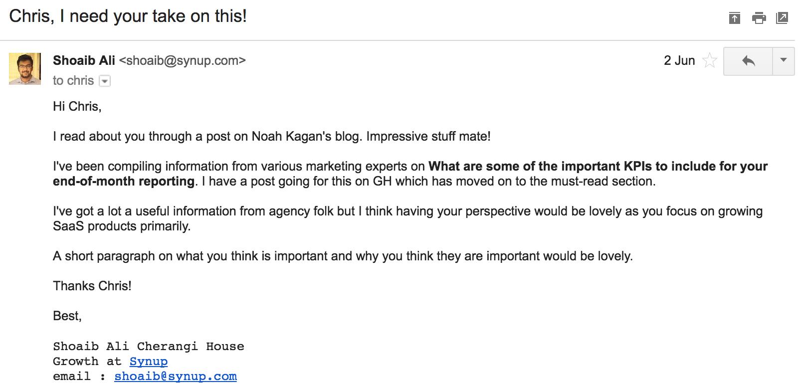 Screenshot showing an email sent to Chris Von Wilpert