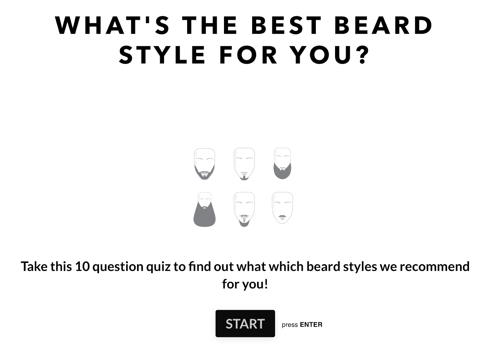 Screenshot of Beardbrand interactive beard style quiz