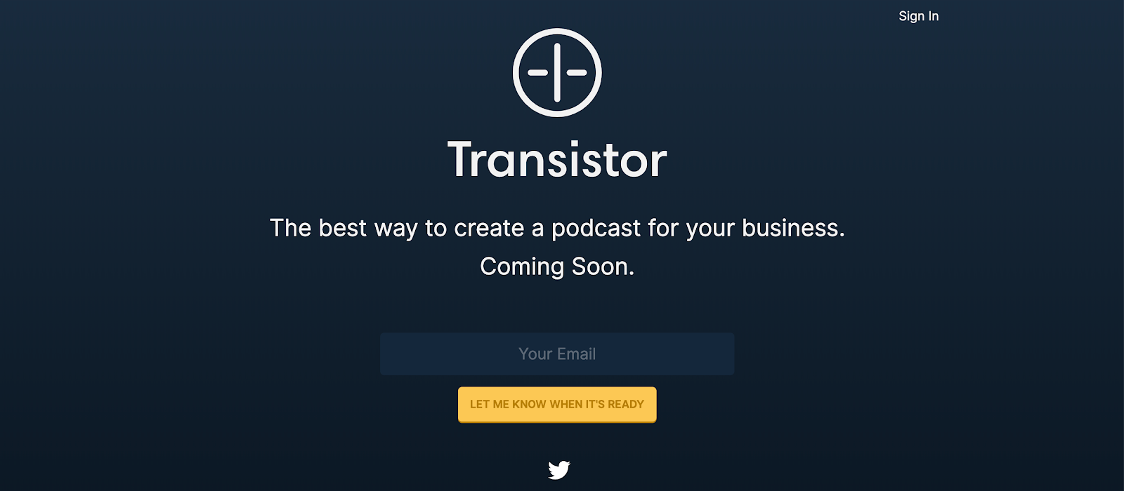 Coming Soon Page: Screenshot of Transistor coming soon page