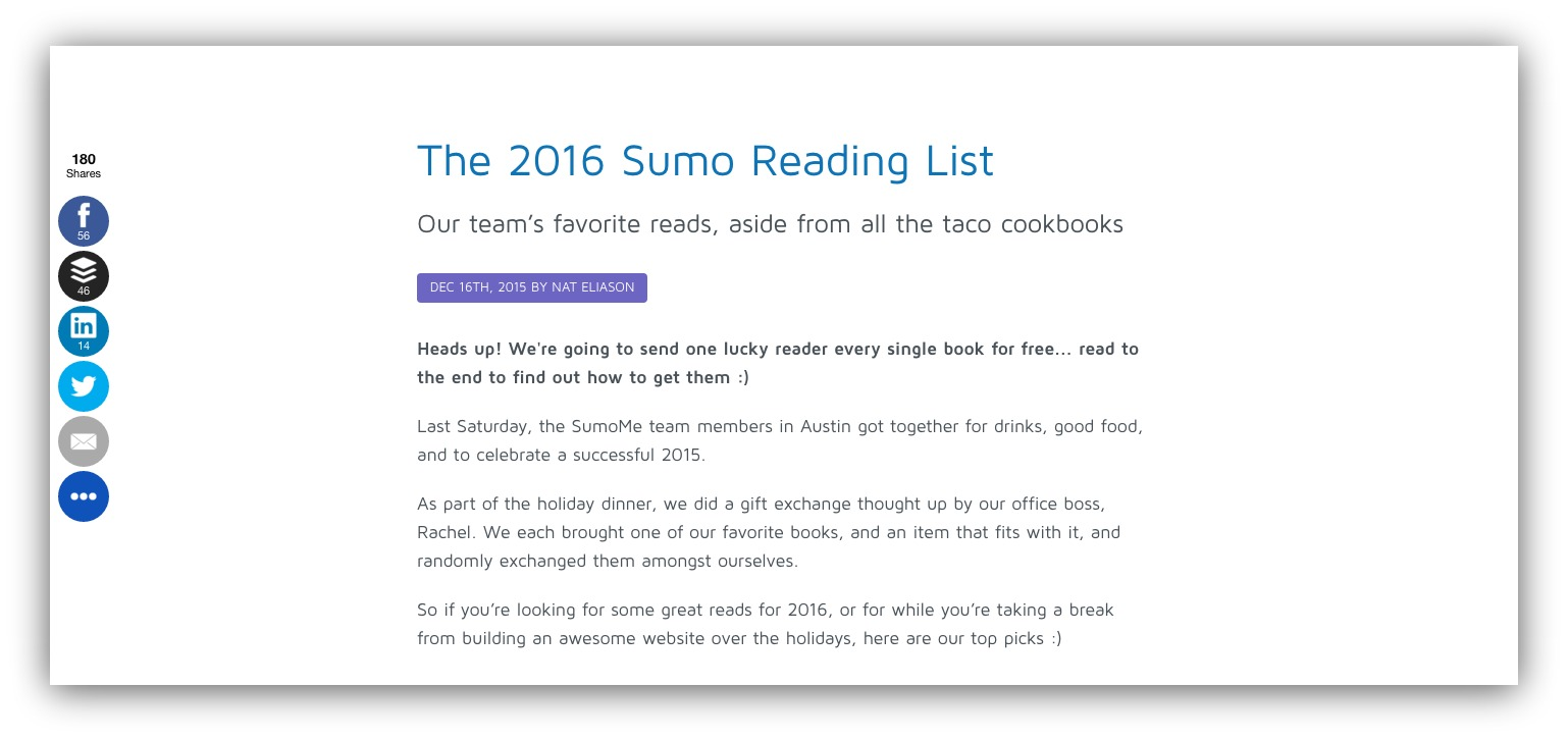 Screenshot showing the 2016 sumo reading list article