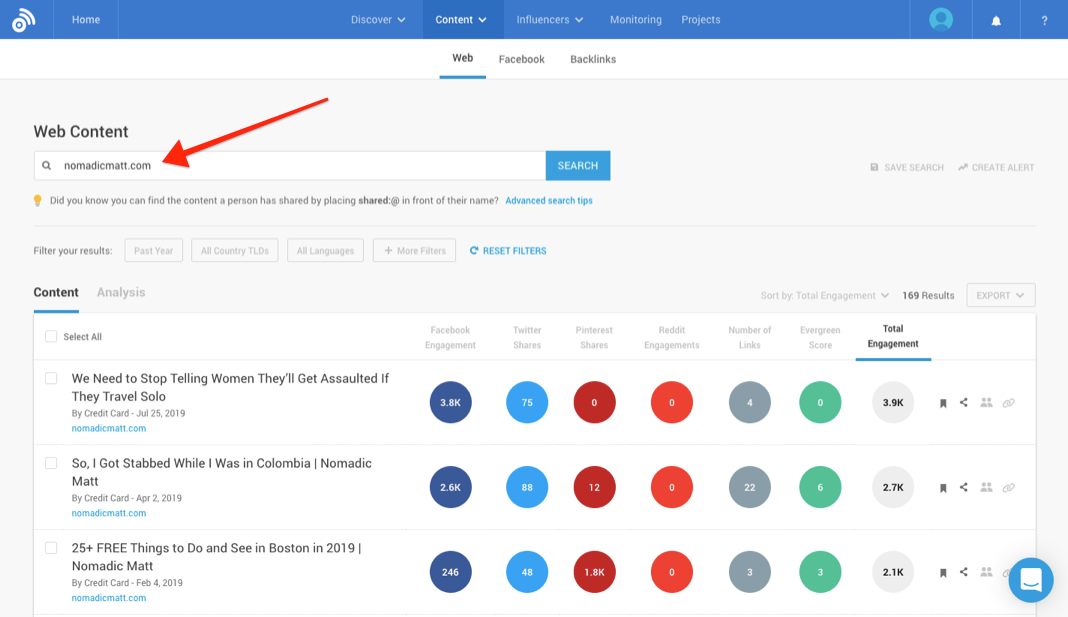 Screenshot of BuzzSumo