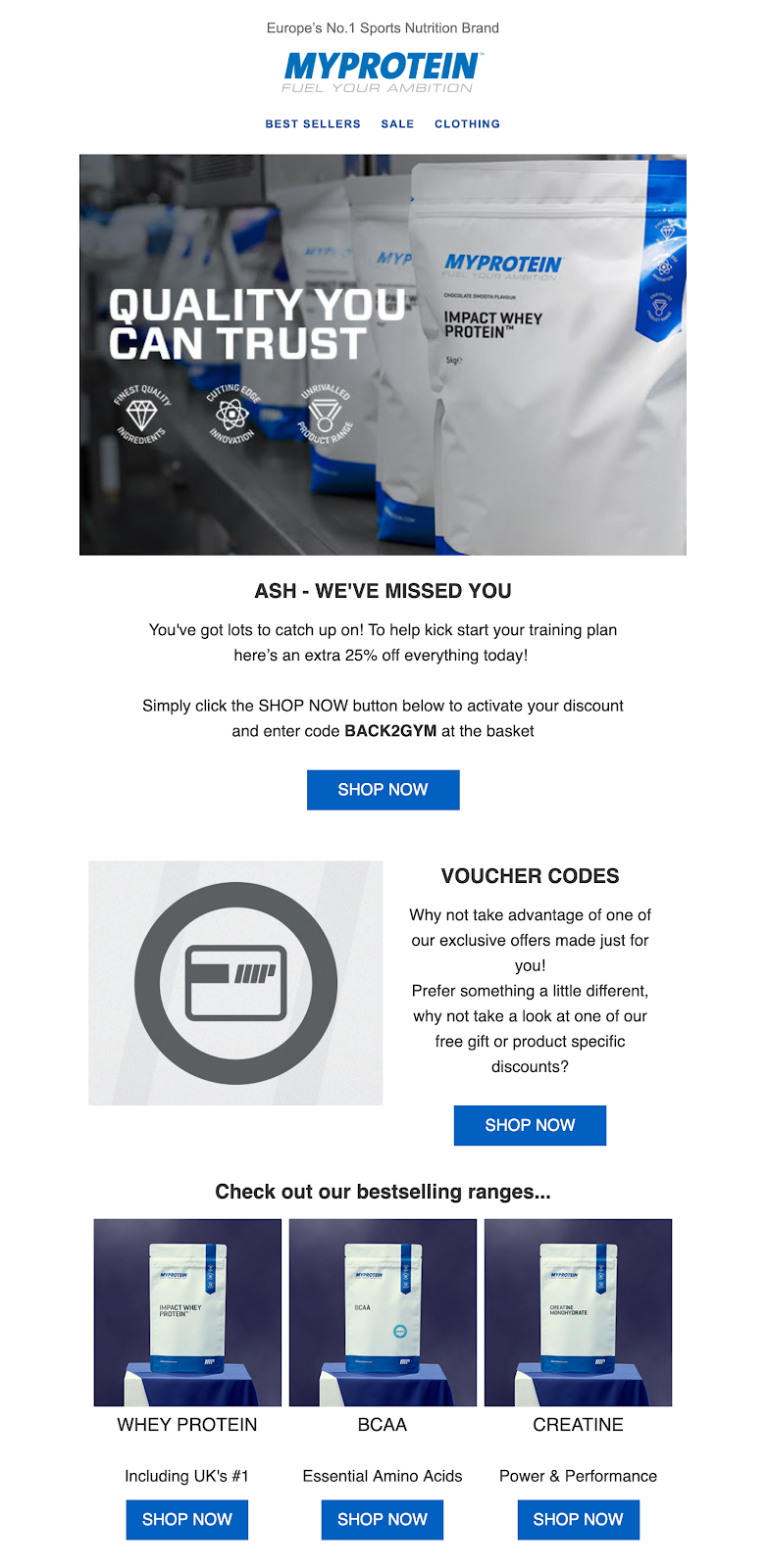 Screenshot of reactivation email by Myprotein