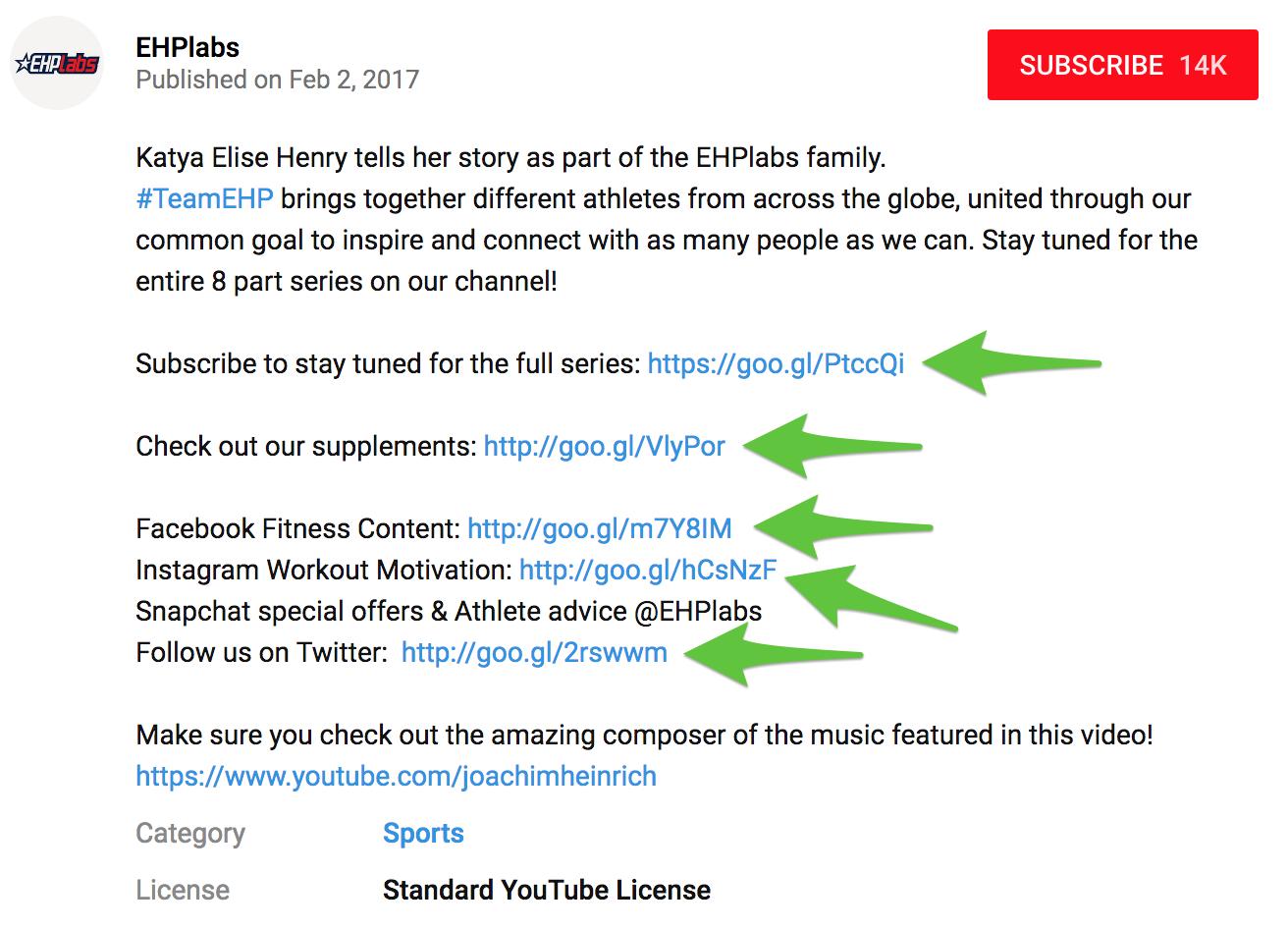 Screenshot showing a youtube video description