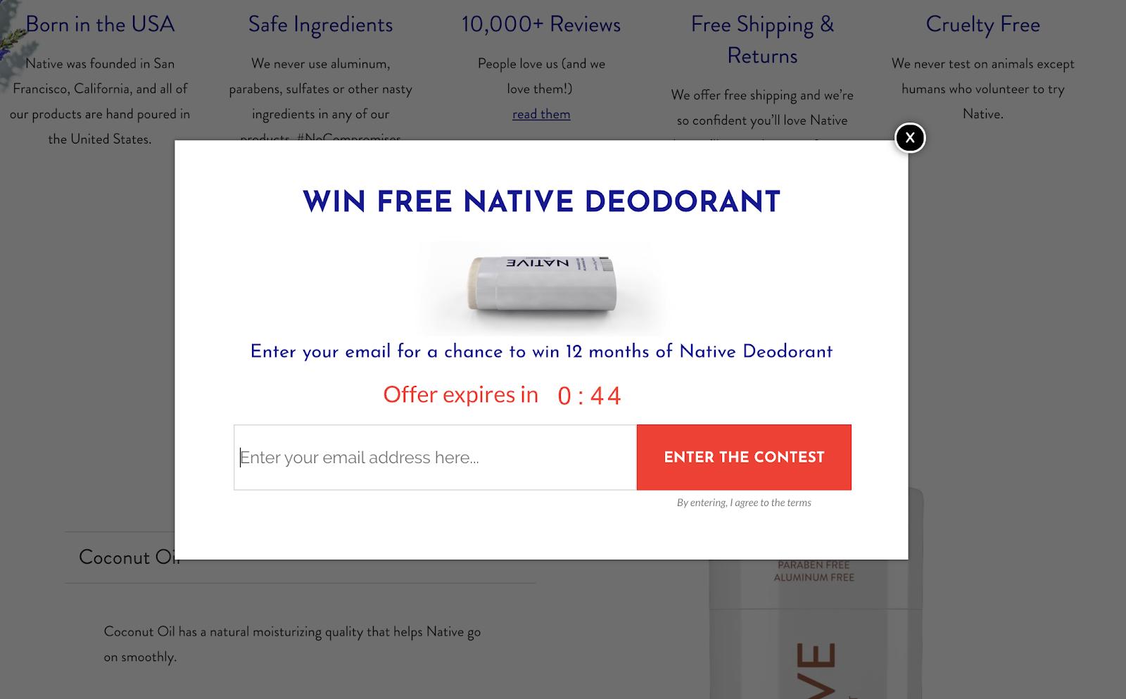 Screenshot of Native website