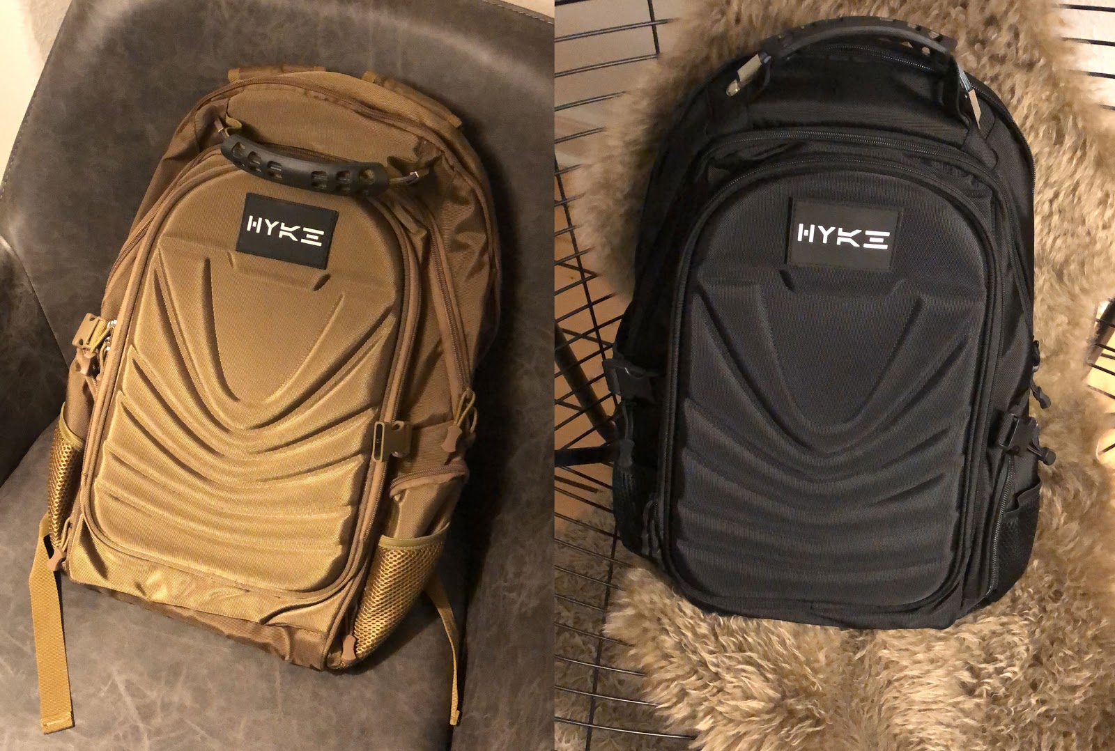 Picture showing backpacks with logos on them