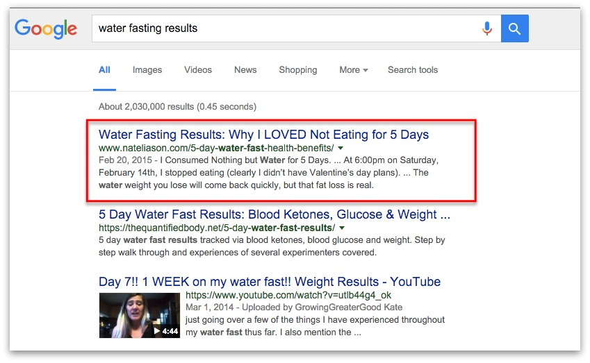"Screenshot showing a google search for ""water fasting results"""