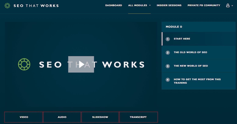 Screenshot showing a video dashboard