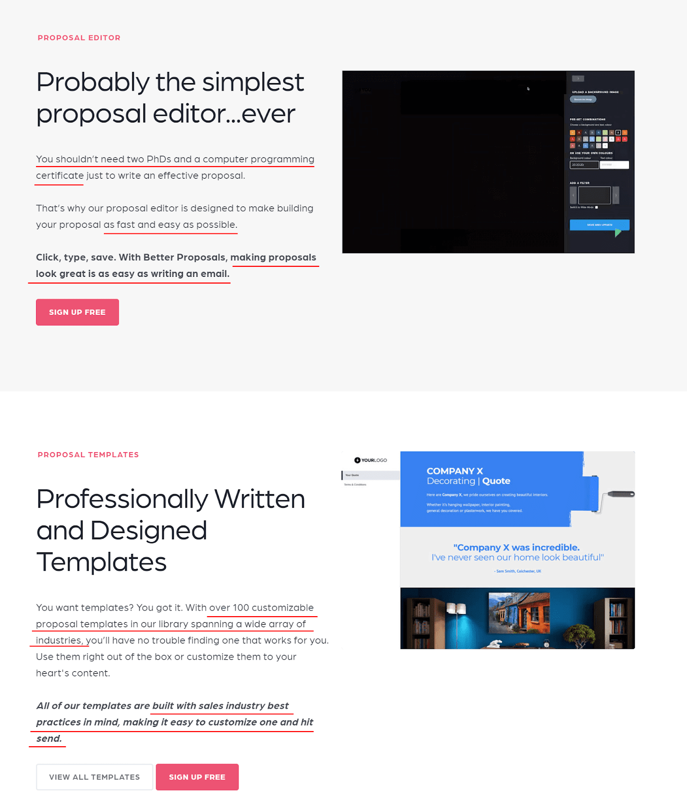 Saas BETTER PROPOSALS product page
