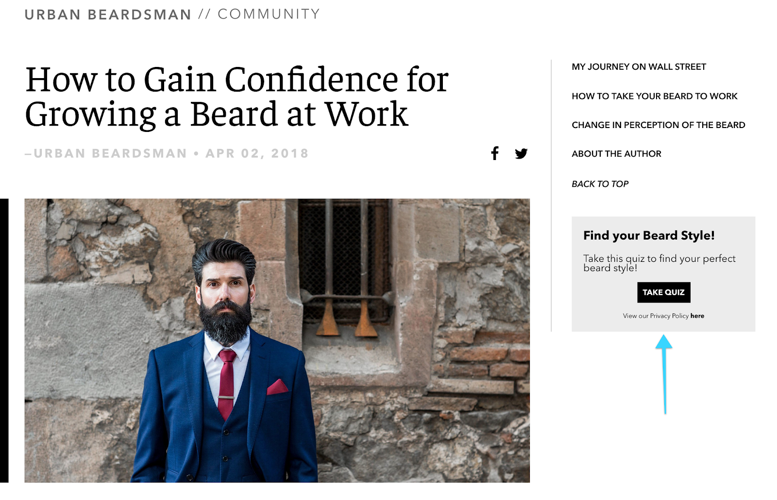 Sreenshot of interactive beard style quiz featured in the sidebar and remains in view — even when scrolling — for as long as the reader is on the blog