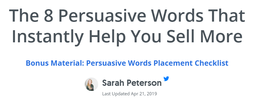 Sumo.com blog post - The 8 Persuasive Words That Instantly Help You Sell More