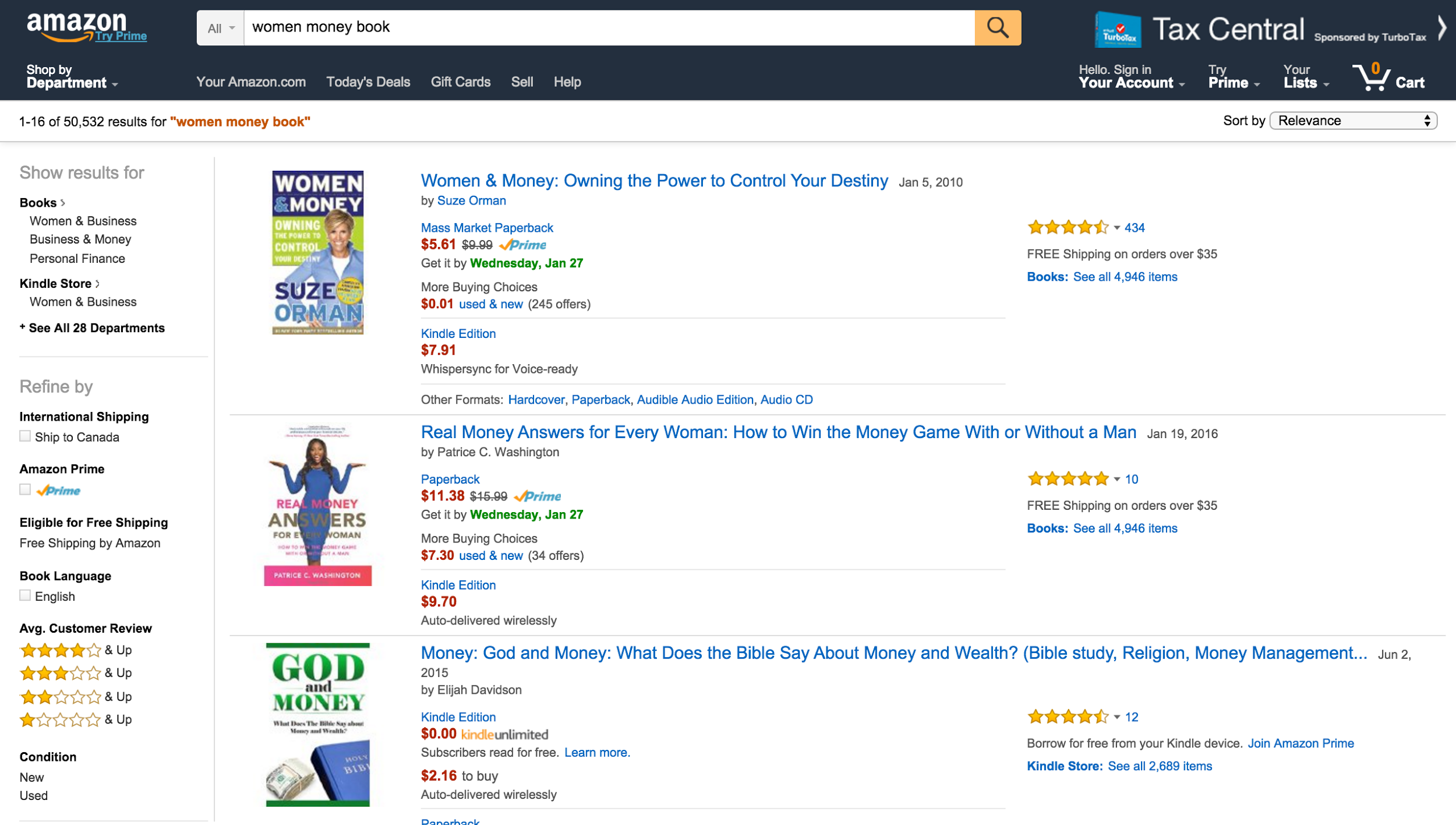 "Screenshot of an Amazon search for ""women money book"""