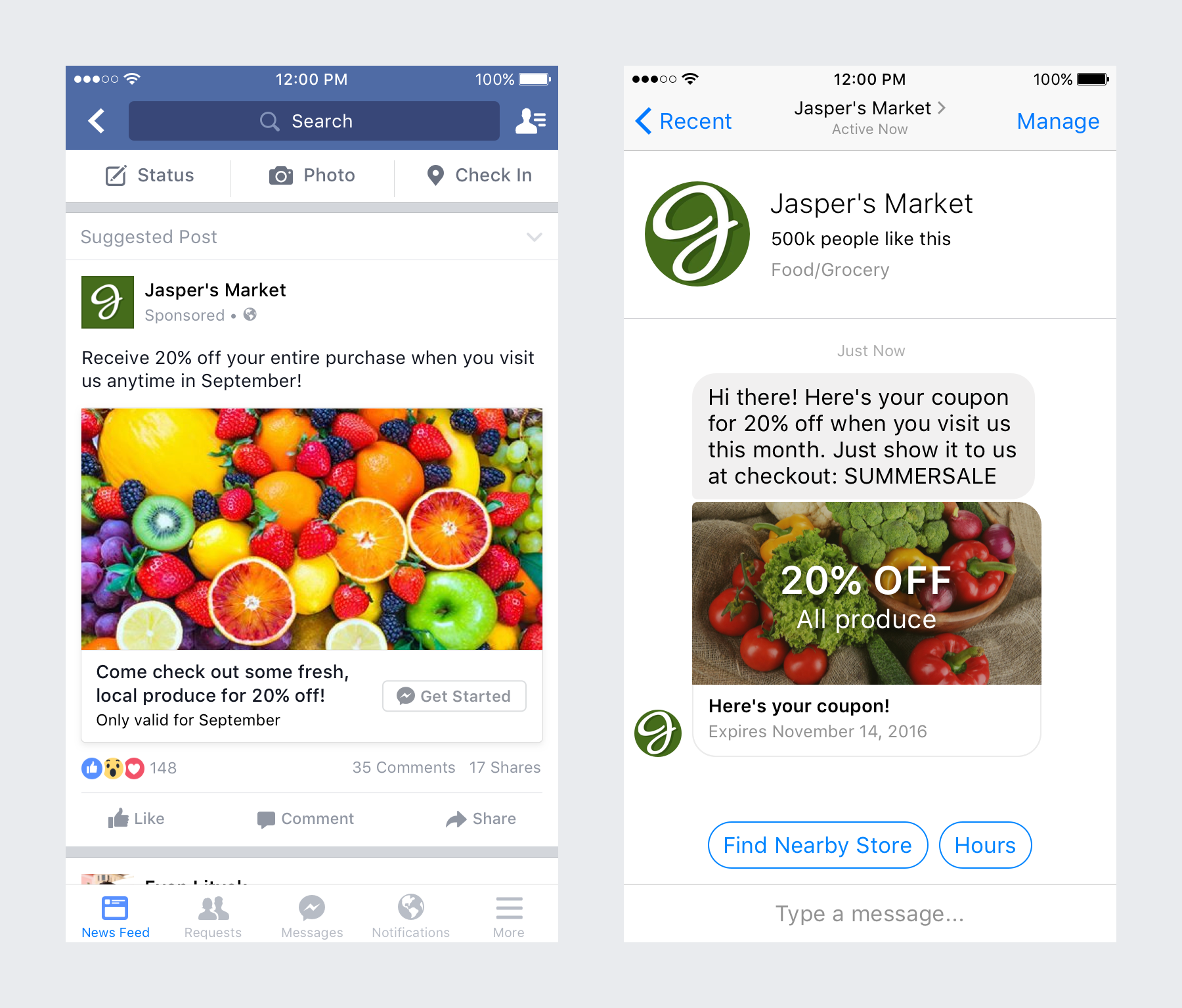 Two screenshots showing a Facebook ad and a messenger conversation