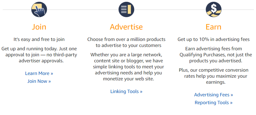 Screenshot showing the steps for earning on amazon