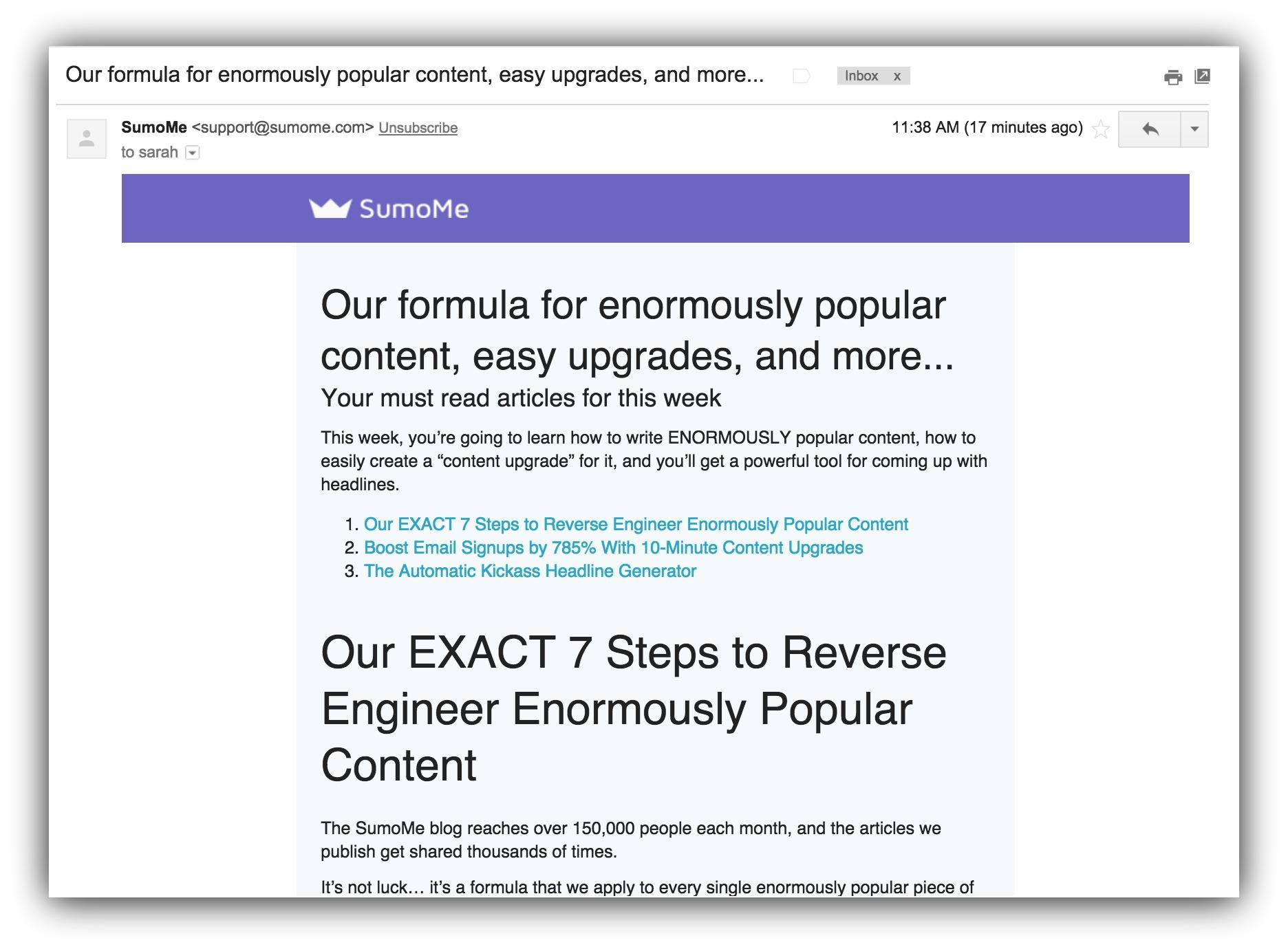 Screenshot of an email sent by Sumo