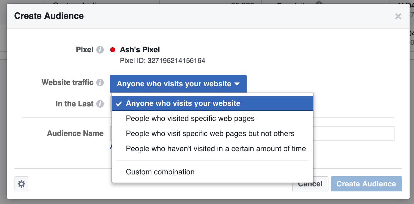 Screenshot showing Facebook custom audience settings