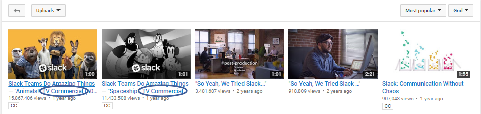 Screenshot of youtube videos of Slack TV commercials