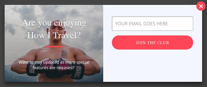 Screenshot showing a popup