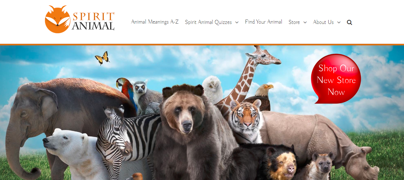 Screenshot showing a website with animals