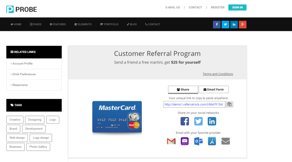 Screenshot of a referral page