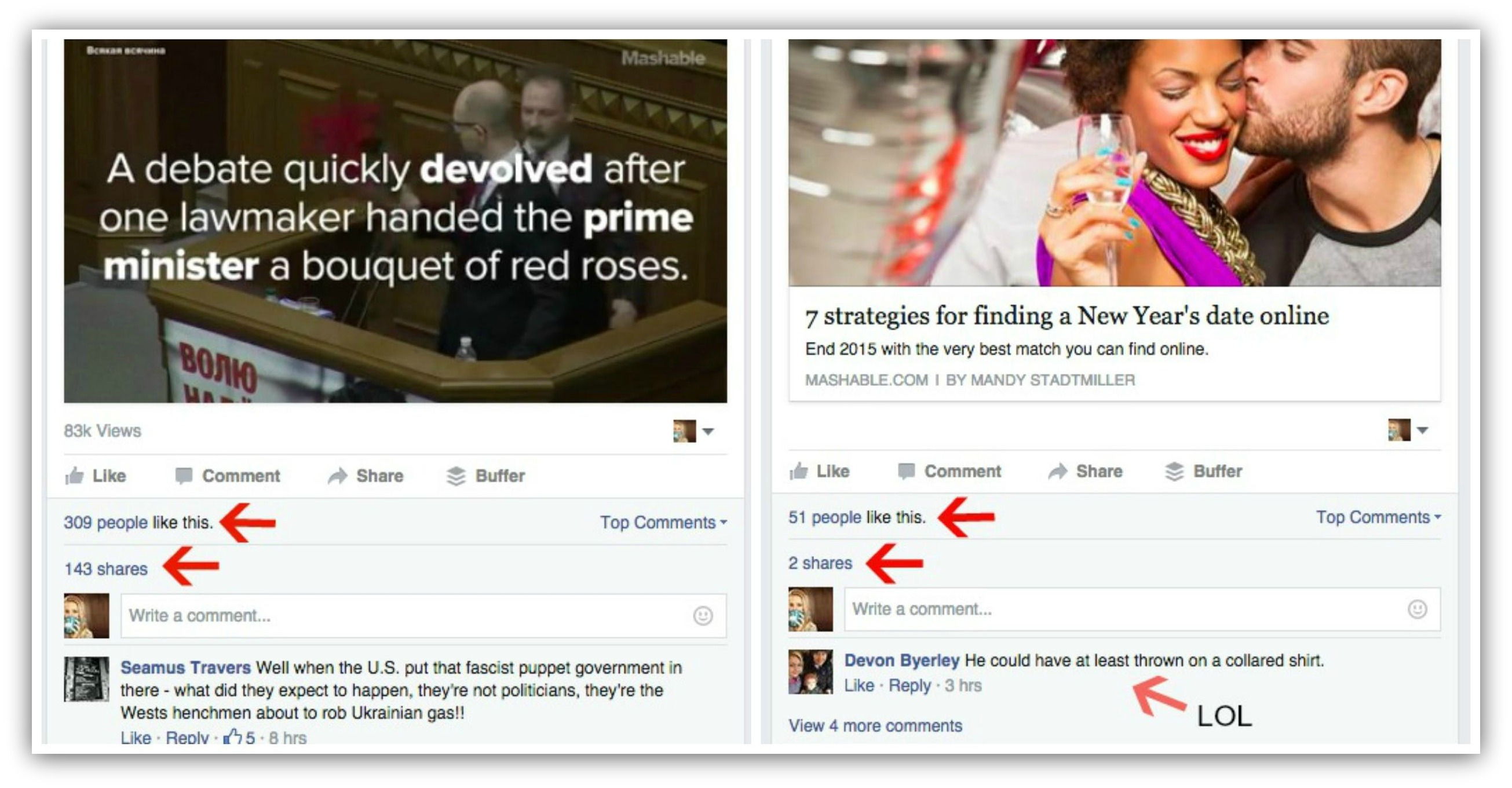 Screenshot showing two facebook posts and their stats